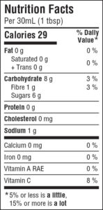 crackin' cranberry conserve nutrition facts